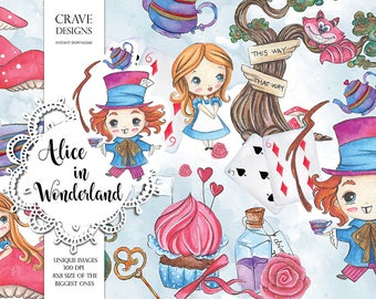 Alice in Wonderland #3  Clipart Alice Clip Art Watercolor Alice Adventures Mad Hatter Tea Party Eat Me Drink Me Cat Illustration