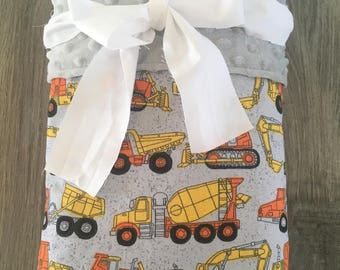 Trucks Blanket~ Childs Blanket~ Boy Blanket~ Minky Blanket~ Toddler Blanket~ Construction Trucks Blanket
