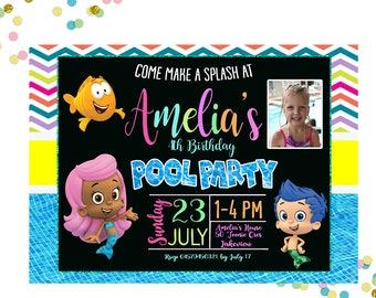 Bubble Guppies Pool Party Invitation -  Bubble Guppies Invitation - Pool Party Invitation