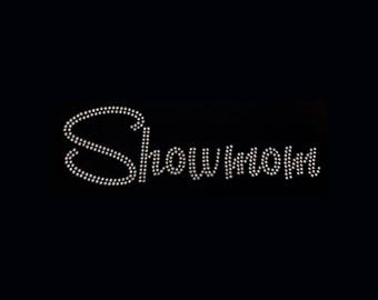 "Western, Showmom (3x9"")  Rhinestone Bling T-Shirt Personalize Customize"