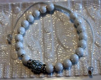 Cute Alabaster & Pearl-beaded bracelet; handmade, shamballa, beadweaving, beautiful, white, casual-wear, party-wear