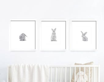 Bunnies Nursery Set. Kid's Room Print. Kid's Decor. Baby's Room Print. Baby Decor.Baby Animal. Baby Rabbit. Nursery Animal. Nursery Print