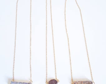 Druzy layer necklace