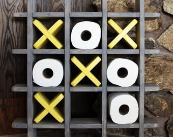 Bathroom Tic Tac Toe - Made to order - Toilet paper holder - Toilet paper Tic Tac Toe - Pallet Wall art - Floating shelf - Decor - Farmhouse