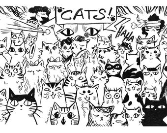 POSTCARD ~ Cat Party