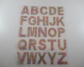 Stickers, decals, Alphabet, multicoloured rhinestones.