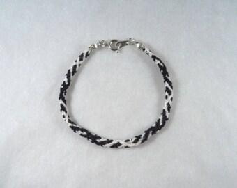 Cotton Friendship Bracelet black white geometric pattern with clasp