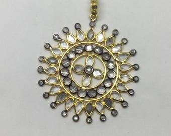 Pave white topaz sterling silver pendant