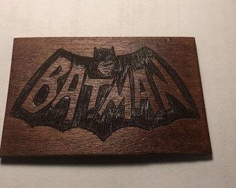 Batman wood burned magnet