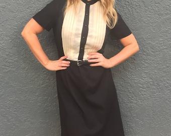 Adorable 1960s Tuxedo Dress