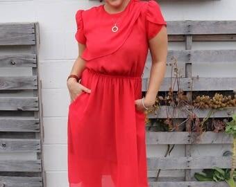 Beautiful Sheer 1970s Dress w/Tulip Sleeves
