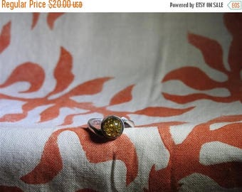 ON SALE exceptional vintage sterling silver and amber ring size 6 1/2
