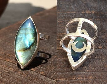 Size 6.5 Blue, Yellow Labradorite Ring, Sterling Silver Double Band Statement Ring 'Luna'