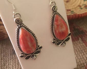 Navajo Sterling Silver & Spiny Oyster Dangle Earrings Signed By Russell Brown