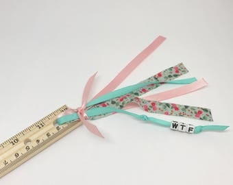 WTF Ribbon Planner Ruler Snarky Back To School Girly Home Office School Supplies Ready to Ship Badass Girls Organize