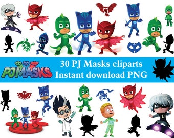 INSTANT DL- 30 x Pj Masks  clipart png - printable Digital Clipart party birthday Graphic Instant Download