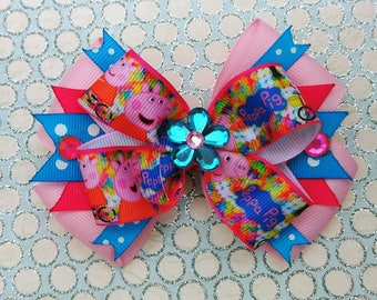 Peppa Pig Snap Stack Hair Bow Headband Flower Animal
