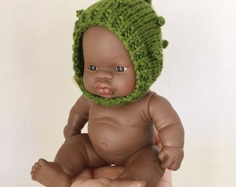 Miniland 21cm Baby Doll Bobble Bonnet | Doll's Bonnet | Hat for doll | Miniland baby doll clothes | miniature bonnet | merino doll bonnet