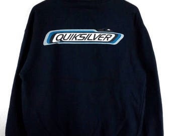 RARE!!! Quiksilver Surfing Big Logo SpellOut Crew Neck Dark Blue Colour Sweatshirts Hip Hop Swag M Size
