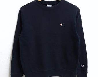 RARE!!! Champion Small Logo Embroidery Crew Neck Dark Blue Colour Sweatshirts Hip Hop Swag M Fit S Size