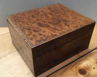 Vintage Walnut Veneered Wooden Box Hinged Lid