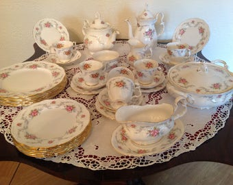 Royal Albert tranquility tea and part dinner set 1970's