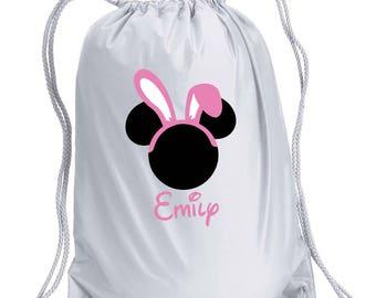 Disney Backpack,Easter Disney,Minnie Bunny Inspired Bag,drawstring bag,Disney Bag,Easter Minnie Day Bag,Disney bag,Easter Drawstring bag