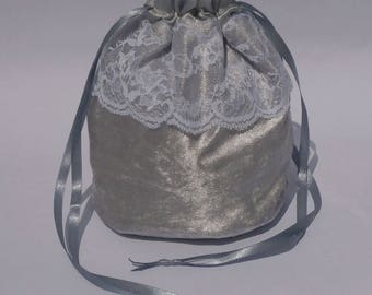 "Silver Grey Crushed Velvet & 3"" Lace Dolly Evening Handbag / Purse Wedding Bridesmaid Bag Drawstring"
