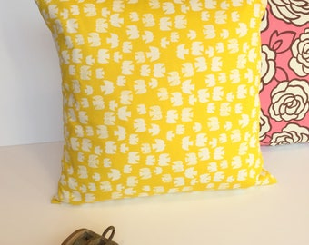 """Pillow cover yellow thick cotton with birds on one side and the other decor square 45 x 45 cm, 18 """"x 18"""""""