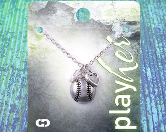 Customizable! Silvertoned Softball Heart Necklace - Personalize with Jersey Number, Letter Charm, or Heart Color! Great Softball Gift!