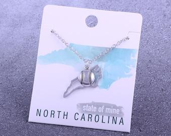 Customizable! State of Mine: North Carolina Softball Silver Necklace - Great Softball Gift!
