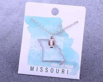 Customizable! State of Mine: Missouri Football Enamel Necklace - Great Football Gift!