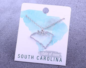 Customizable! State of Mine: South Carolina LAX Silver Lacrosse Necklace - Great Lacrosse Gift!