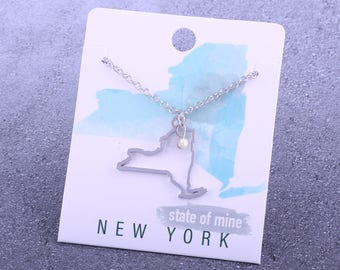 Customizable! State of Mine: New York Silver Necklace - Great Gift!