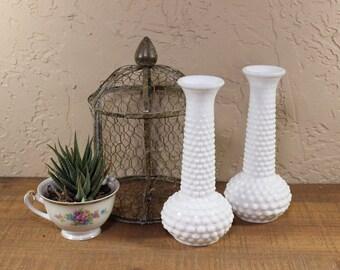 Vintage Brody Hobnail Milk Glass Vases /  Vintage Milk Glass Bud Vases / Brody Hobnail vases