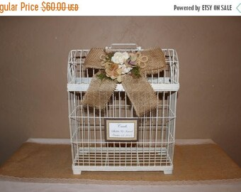 ON SALE Wedding Birdcage Cardholder / White Wedding Birdcage / Wedding Cardholder