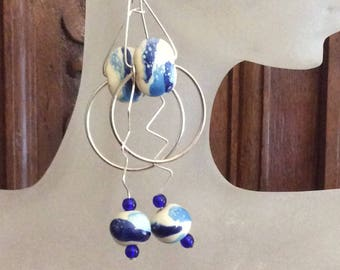 Bolt of Blue / Kazuri Earrings / Beaded Earrings / Geometric Earrings / Blue Earrings / Drop Earrings / Dangle Earrings