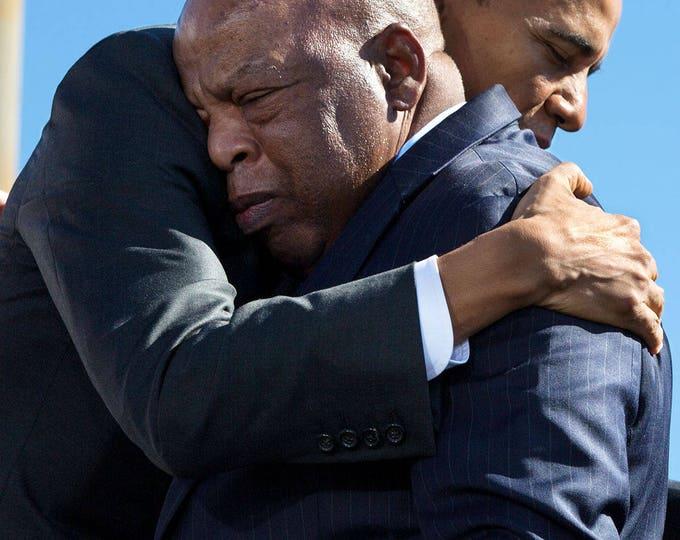 President Barack Obama Hugs John Lewis on Bloody Sunday Anniversary in 2015 - 5X7, 8X10 or 11X14 Photo (ZZ-994)