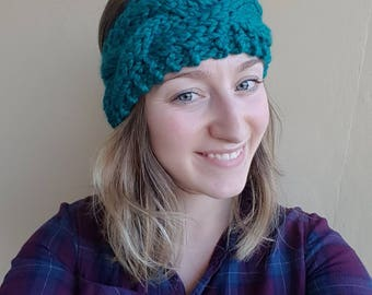 Chunky Braided Cable Headband, knit headband, knit earwarmer, chunky headband, chunky earwarmer, cable headband, braided headband