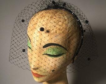 """Vintage Style Hat / """"Grace"""" PR Original / Made to order / Black Veil / Retro Bride / Femme Fatale"""