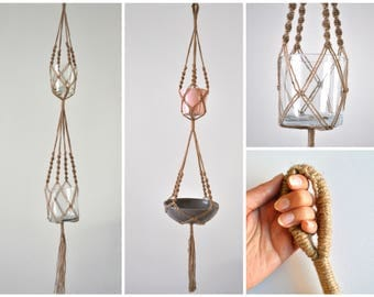 Double twist macramé planthanger, double planthanger, double macrame, twisted macramé, XL plant holder, twisted rope, extra long macrame
