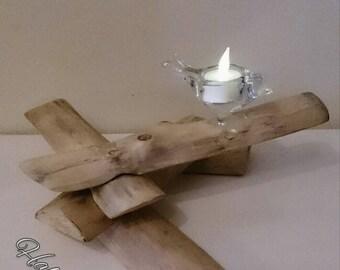 Handmade bird candle holder, handmade, home decor, glass, eucalyptus wood