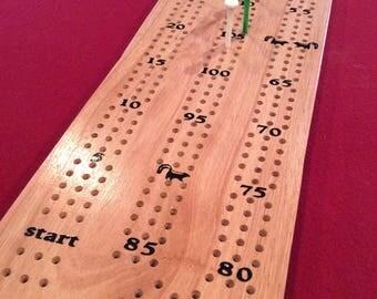 Handmade Eucalyptus Wood Cribbage Board