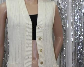 Vintage 90's Creme Cotton Vest (S)