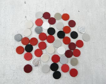 lot 45 studded leather 1 cm red gray black