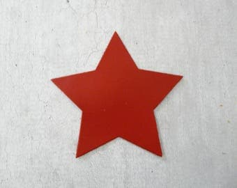 large star 9 cm fine red leather, for creation and customization