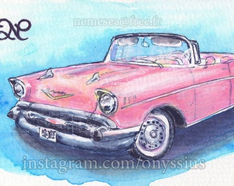 ORIGINAL SKETCH CARD drawing car Car Chevrolet Bel Air convertible Collection