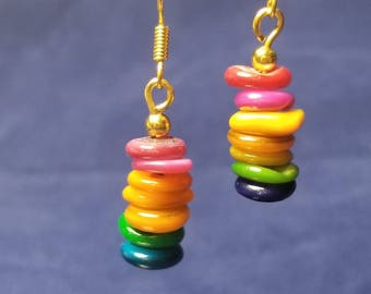 Multicolored Pearl Stack Earrings #PR3201