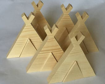 Wooden teepee blank. Teepee stacker. Craft blank. Story bags. Paint your own. Wooden tent.