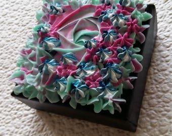 Flowers gallery wrapped canvas paintsculpture cup cake art flowerart blue paint acrylic fantasieart walldecor  designart
